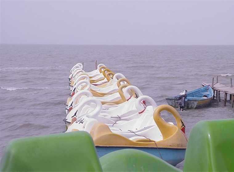 اسکله بندر گز، چهره زیبای دریای خزر در غروب آفتاب