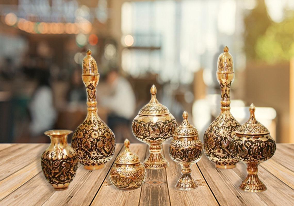 ظروف زیبای مسی در اصفهان که در انواع مختلف و سبک های مختلف تولید می شود